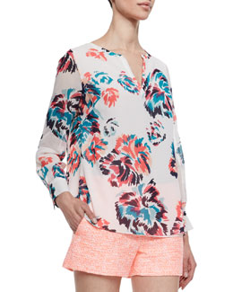 Shoshanna Long Sleeve Floral Print Blouse, Ivory/Multicolor