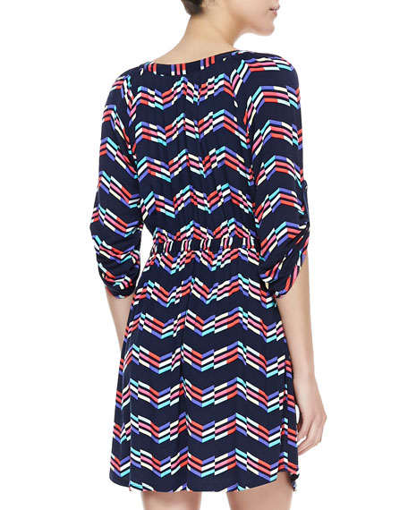 Drawstring Printed Jersey Dress