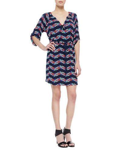 Shoshanna Drawstring Printed Jersey Dress