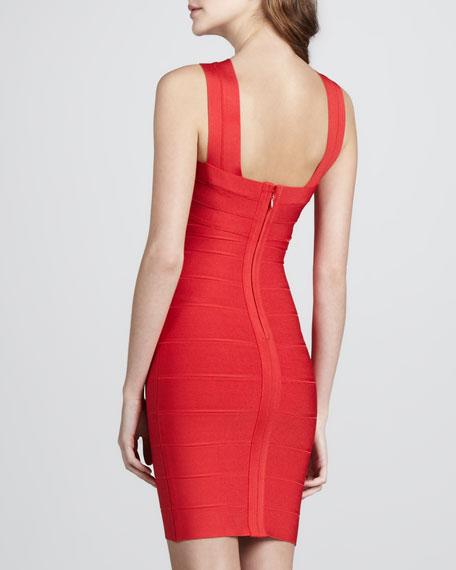 Cut-In Bandage Dress, Coral Poppy