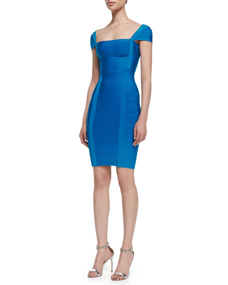 Cap Sleeve Bandage Dress, Deep Ocean Blue