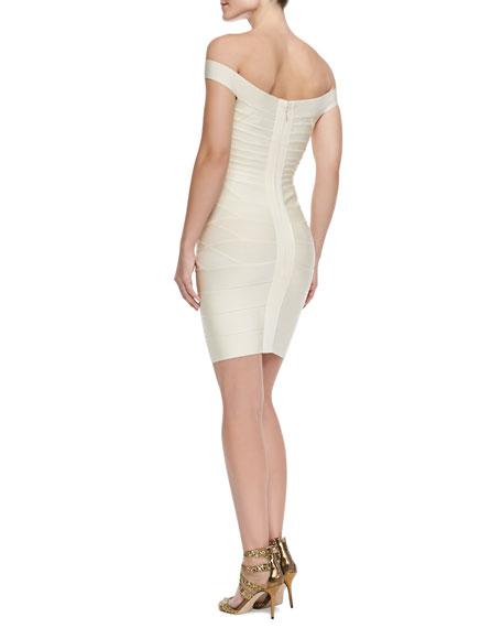 Off-The-Shoulder Bandage Dress, Birch White