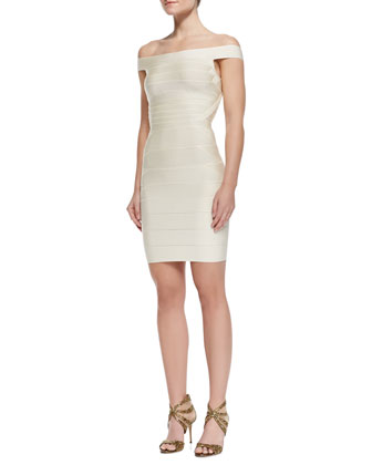 Off-The-Shoulder Bandage Dress, Birch White