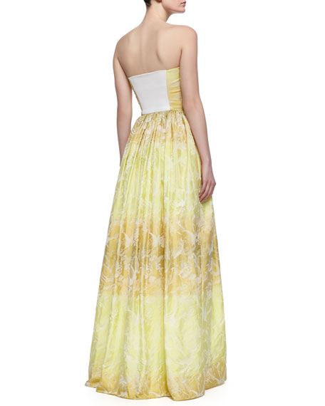 Mykel Ombre Strapless Taffeta Gown