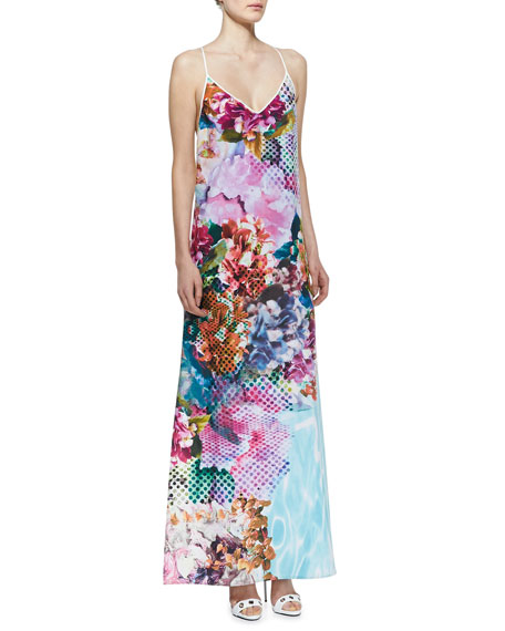 Pool Flower Racerback Maxi Dress
