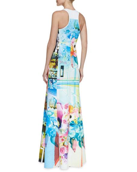 Florescent Neoprene Maxi Dress