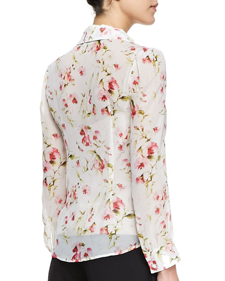Geranium Sweet Pea-Print Silk Blouse