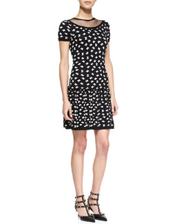 RED Valentino Multiple Bow-Print Short-Sleeve Dress