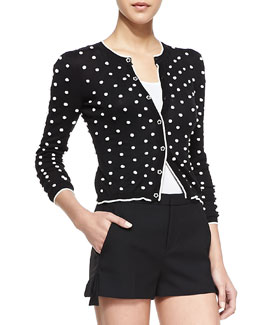 RED Valentino Long-Sleeve Polka Dot Knit Cardigan