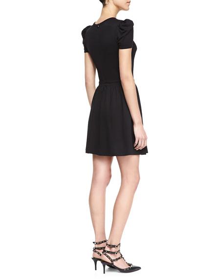 Dotted-Yoke Jersey Dress