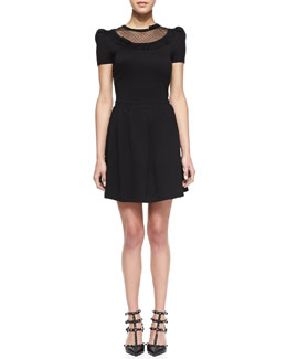 RED Valentino Dotted-Yoke Jersey Dress