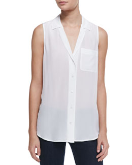 Equipment Keira Silk Button-Up Top