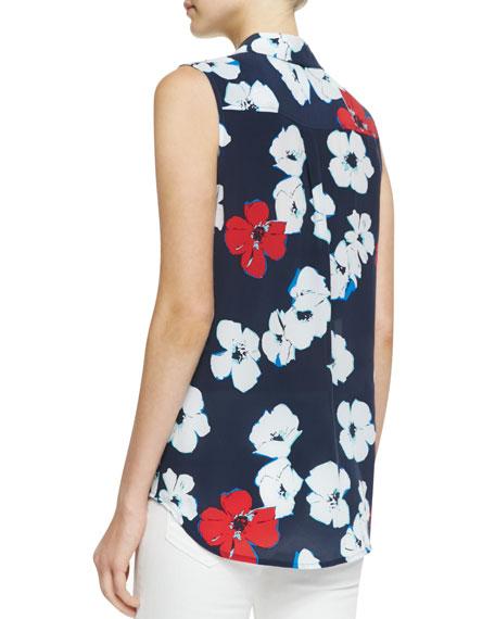 Slim Signature Sleeveless Floral-Print Blouse