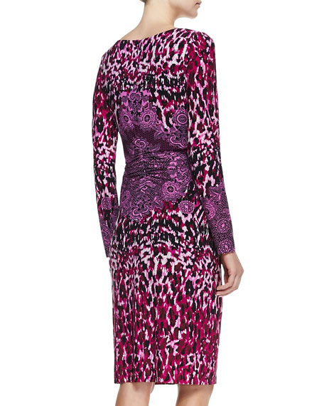 Animal-Print Crochet-Detail Long-Sleeve Jersey Dress