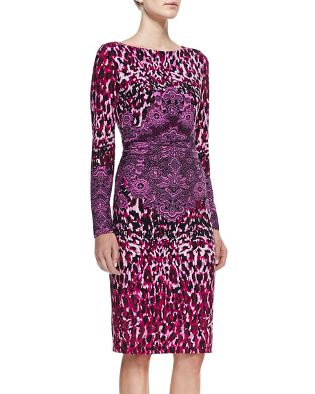 Animal-Print Crochet-Detail Long-Sleeve Jersey Dress