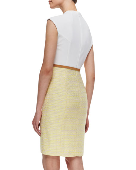 Knit & Tweed Combo Jewel-Neck Dress, White/Yellow