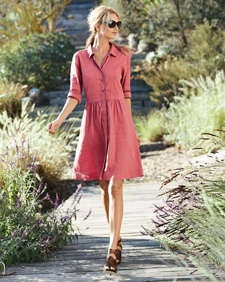 3/4-Sleeve Linen-Blend Shirtdress