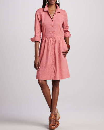 Eileen Fisher 3/4-Sleeve Linen-Blend Shirtdress, Petite