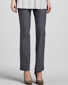 Eileen Fisher Washable Crepe Slim Boot-Cut Pants, Petite