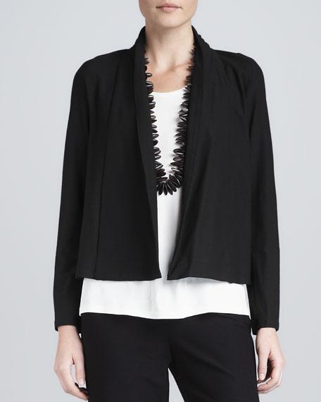Washable-Stretch Crepe Short Jacket
