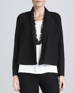 Eileen Fisher Washable-Stretch Crepe Short Jacket, Women's