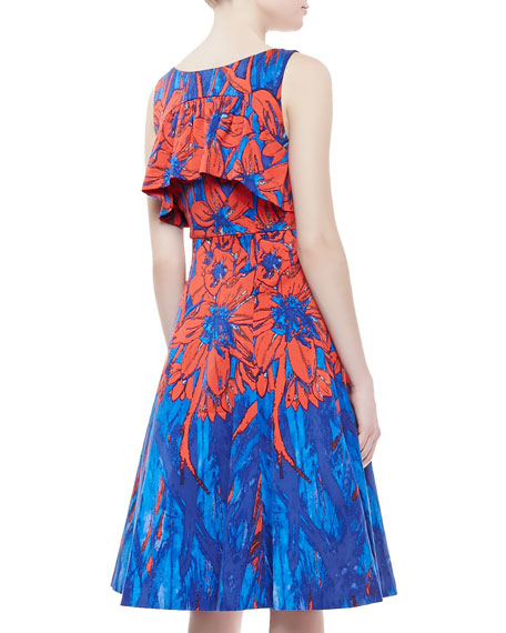 Floral Printed Flyaway Dress, Blue/Scarlet