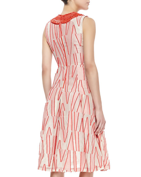 Sleeveless Beaded Neck Dress, Scarlet/Ivory
