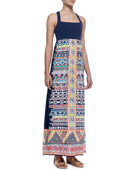 Mica Printed Silk-Skirt Maxi Dress