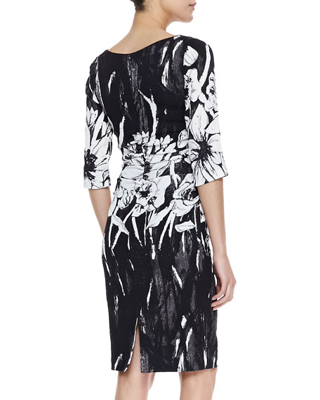 3/4-Sleeve Ruched-Waist Dress, Black/White Floral