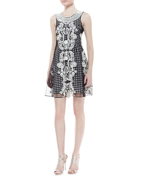Sleeveless Beaded Neck Trapeze Dress, Black/White