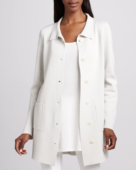 Stand Collar A-line Jacket, Petite