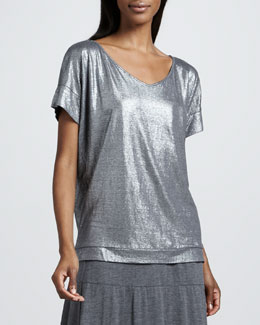 Eileen Fisher Shimmer Soft V-Neck Top, Petite