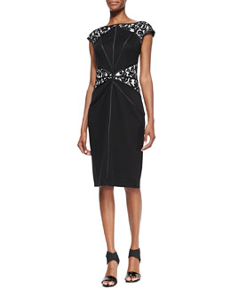 Tadashi Shoji Cap-Sleeve Lace-Inset Cocktail Dress, Black/Ivory