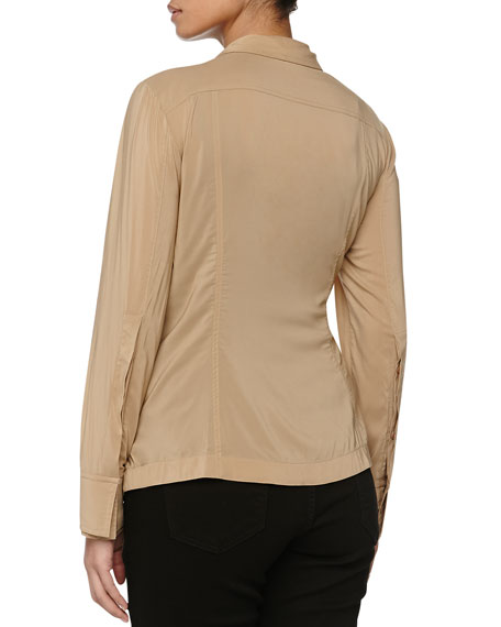 Shirt One-Button Jacket w/Pleats