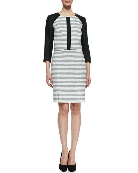 Striped Tweed/Linen Jacket & Skirt Suit Set