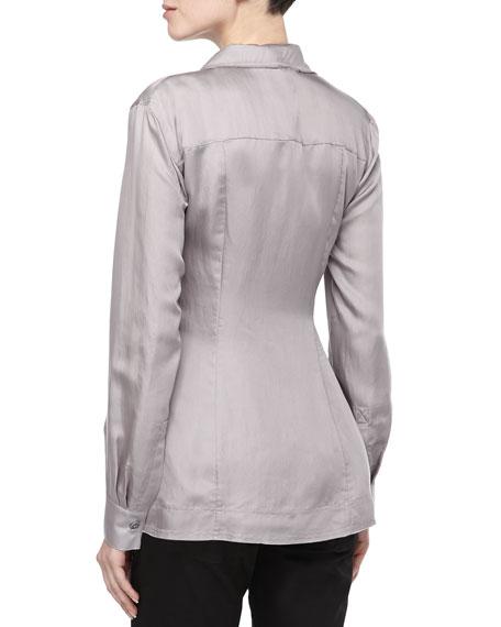 Draped-Front Button Tunic, Quartz