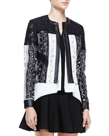 Tarik Mix-Fabric Leather-Trim Jacket