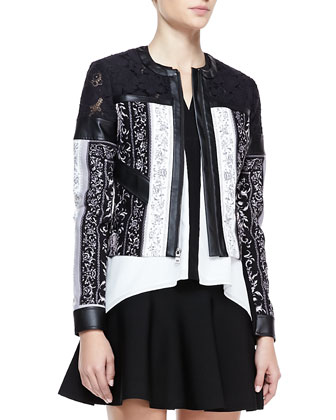 Tarik Mix-Fabric Leather-Trim Jacket