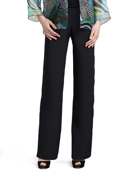 Silk Crepe Straight Pants, Petite