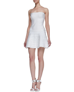 Herve Leger Sleeveless Scallop Bandage Dress