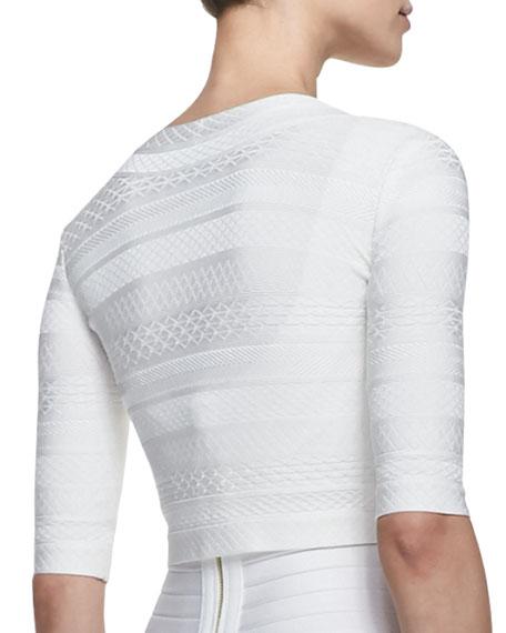 3/4-Sleeve Textured Jacket, Alabaster