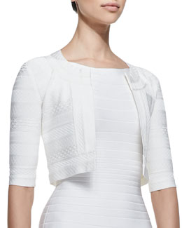 Herve Leger 3/4-Sleeve Textured Jacket, Alabaster