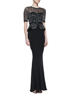 Rachel Gilbert Sequin/Beaded Bodice Peplum Gown