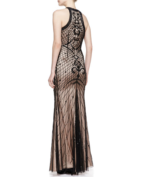 Deco Beaded Crewneck Gown