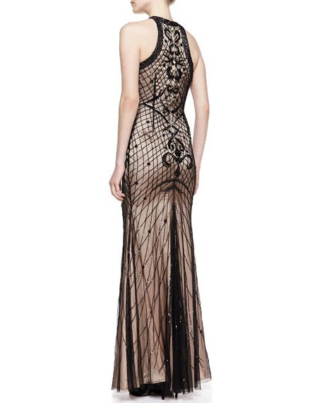 Deco Beaded Crewneck Gown