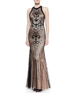 Rachel Gilbert Deco Beaded Crewneck Gown
