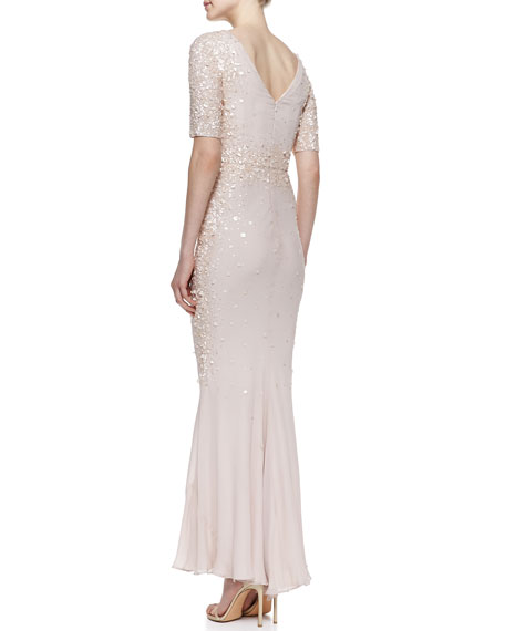 Scattered Sequin Silk Gown