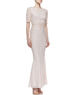 Rachel Gilbert Scattered Sequin Silk Gown