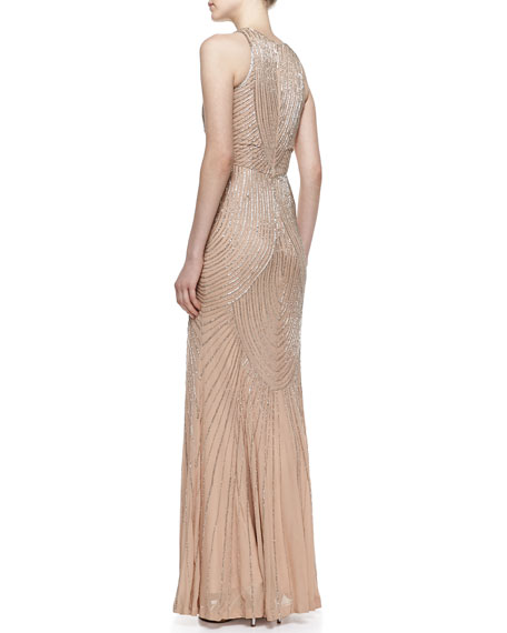 Sleeveless Deco Beaded Pattern Gown, Silver