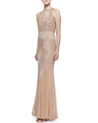 Rachel Gilbert Sleeveless Deco Beaded Pattern Gown, Silver